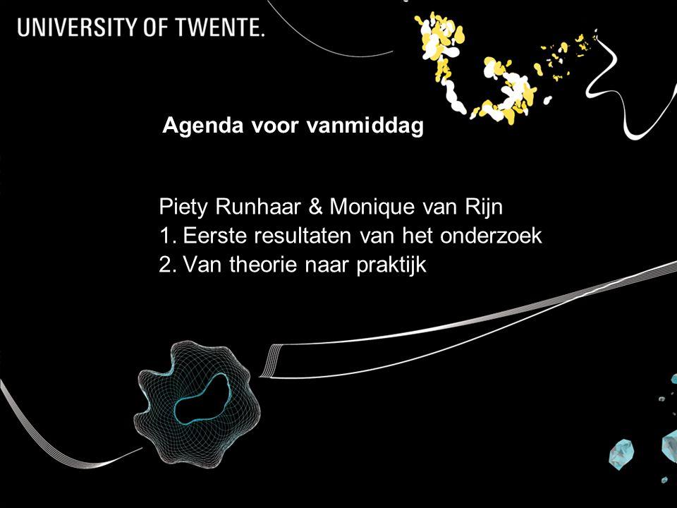 Prof dr Karin Sanders Agenda voor vanmiddag Piety Runhaar & Monique van Rijn 1.Eerste resultaten van het onderzoek 2.Van theorie naar praktijk