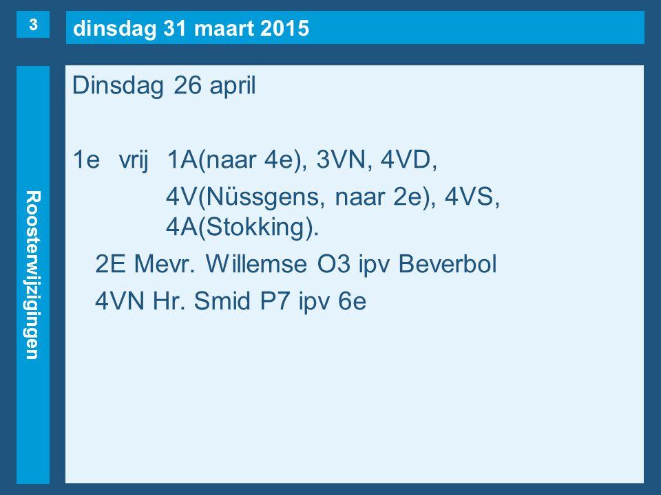 dinsdag 31 maart 2015 Roosterwijzigingen Dinsdag 26 april 2evrij1U, 2E, 3VN, 4VD, 4VR(maar…), 4VS, 4V(Nüssgens), 4H(Priester), 5A(Stokking).