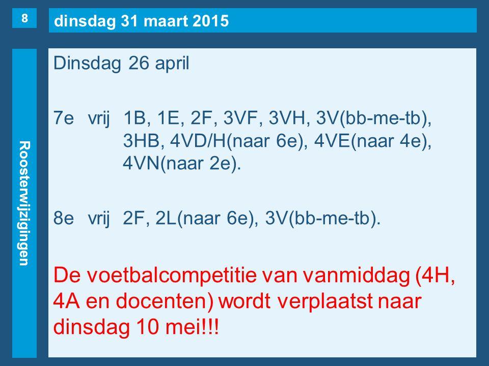 dinsdag 31 maart 2015 Roosterwijzigingen Woensdag 27 april 1evrij1S(naar 3e), 2C, 2E, 4VC, 4VD, 4V(Nüssgens).