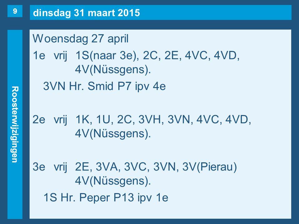 dinsdag 31 maart 2015 Roosterwijzigingen Woensdag 27 april 1evrij1S(naar 3e), 2C, 2E, 4VC, 4VD, 4V(Nüssgens). 3VN Hr. Smid P7 ipv 4e 2evrij1K, 1U, 2C,
