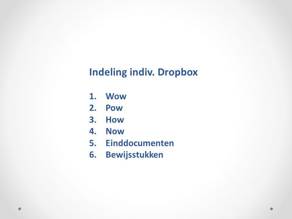 Indeling indiv. Dropbox 1.Wow 2.Pow 3.How 4.Now 5.Einddocumenten 6.Bewijsstukken