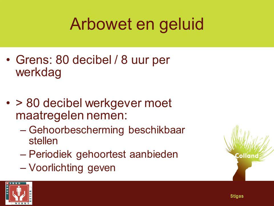 Stigas Arbowet en geluid Grens: 80 decibel / 8 uur per werkdag > 80 decibel werkgever moet maatregelen nemen: –Gehoorbescherming beschikbaar stellen –