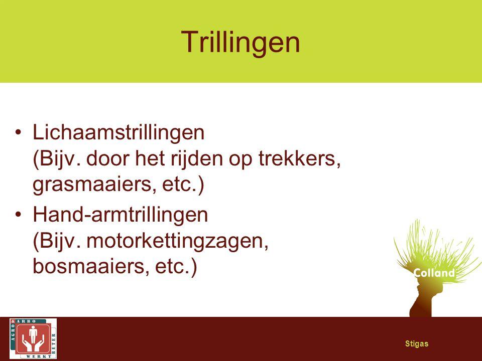 Stigas Trillingen Lichaamstrillingen (Bijv. door het rijden op trekkers, grasmaaiers, etc.) Hand-armtrillingen (Bijv. motorkettingzagen, bosmaaiers, e