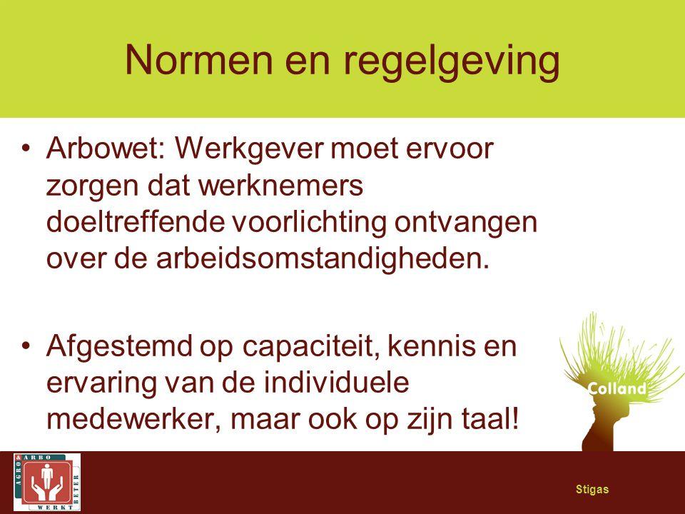 Stigas Normen en regelgeving Arbowet: Werkgever moet ervoor zorgen dat werknemers doeltreffende voorlichting ontvangen over de arbeidsomstandigheden.