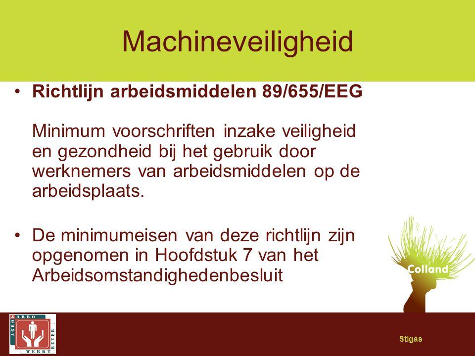 Stigas Machineveiligheid Richtlijn arbeidsmiddelen 89/655/EEG Minimum voorschriften inzake veiligheid en gezondheid bij het gebruik door werknemers va