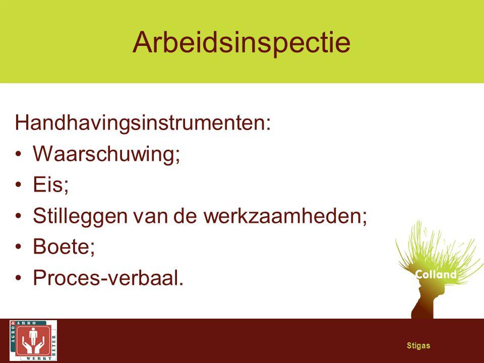 Stigas Arbeidsinspectie Handhavingsinstrumenten: Waarschuwing; Eis; Stilleggen van de werkzaamheden; Boete; Proces-verbaal.