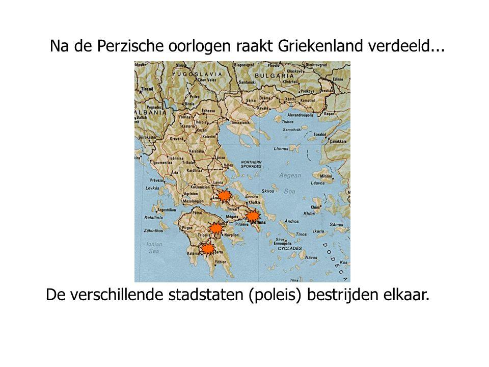Na de Perzische oorlogen raakt Griekenland verdeeld... De verschillende stadstaten (poleis) bestrijden elkaar.