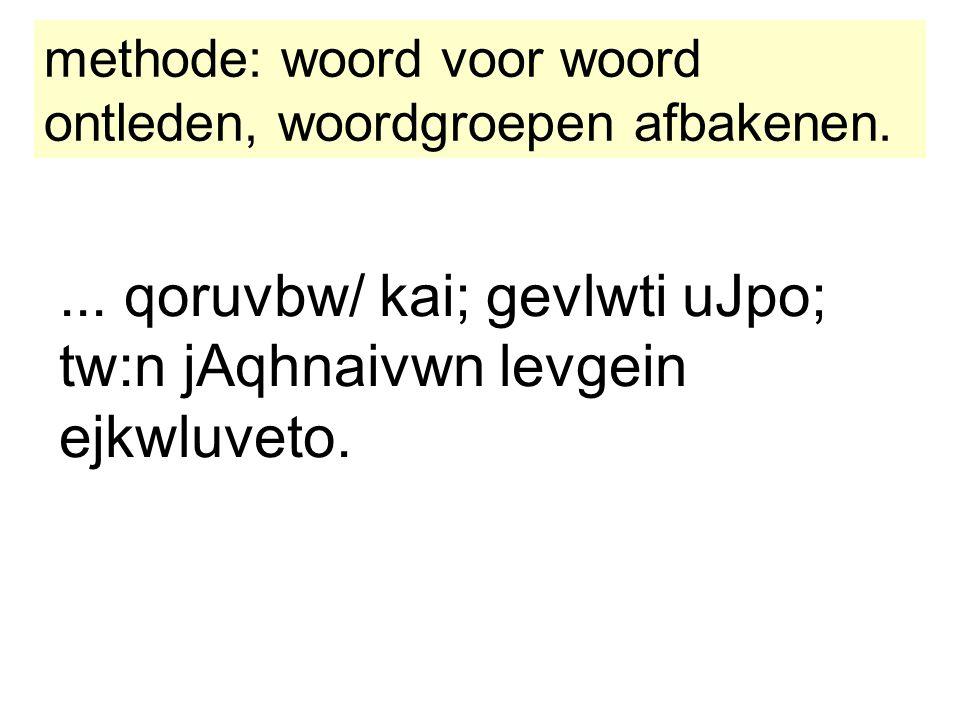 ... qoruvbw/ kai; gevlwti uJpo; tw:n jAqhnaivwn levgein ejkwluveto. methode: woord voor woord ontleden, woordgroepen afbakenen.