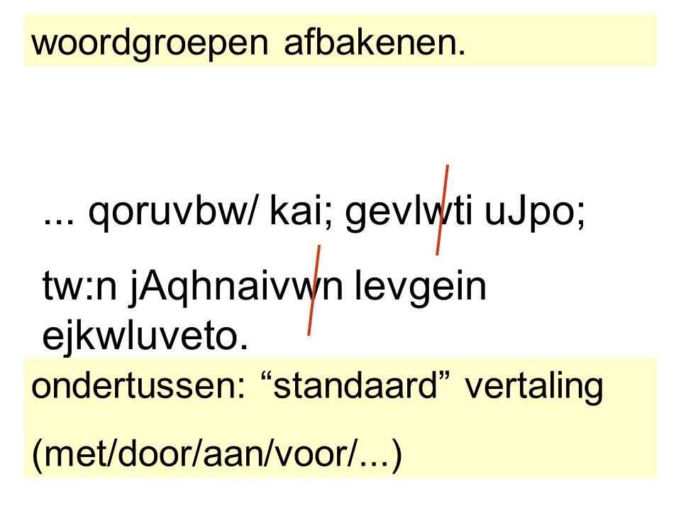 """... qoruvbw/ kai; gevlwti uJpo; tw:n jAqhnaivwn levgein ejkwluveto. woordgroepen afbakenen. ondertussen: """"standaard"""" vertaling (met/door/aan/voor/...)"""