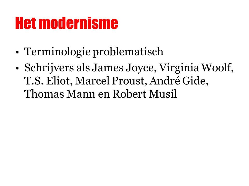 Het modernisme Terminologie problematisch Schrijvers als James Joyce, Virginia Woolf, T.S.