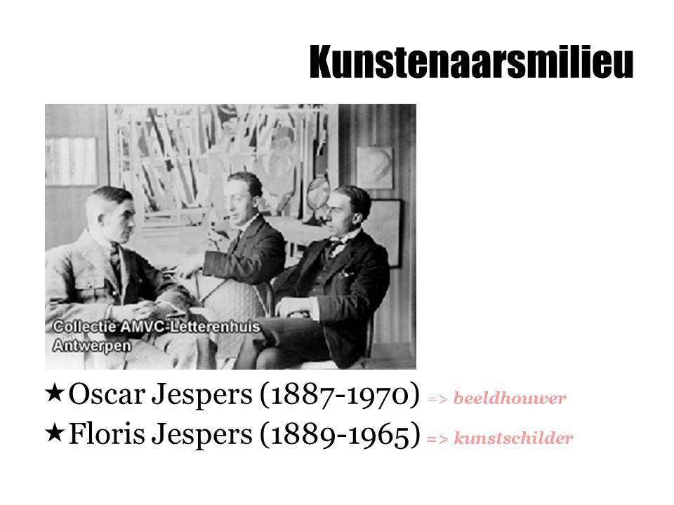 Kunstenaarsmilieu  Oscar Jespers (1887-1970) => beeldhouwer  Floris Jespers (1889-1965) => kunstschilder