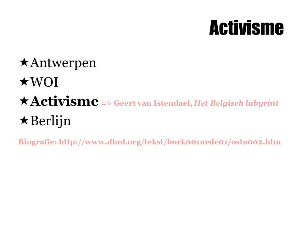 Activisme  Antwerpen  WOI  Activisme => Geert van Istendael, Het Belgisch labyrint  Berlijn Biografie: http://www.dbnl.org/tekst/bork001nede01/osta002.htm