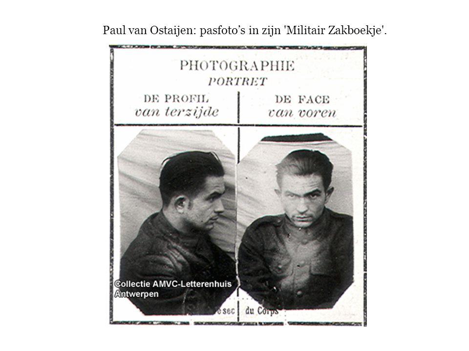 Paul van Ostaijen: pasfoto's in zijn Militair Zakboekje .