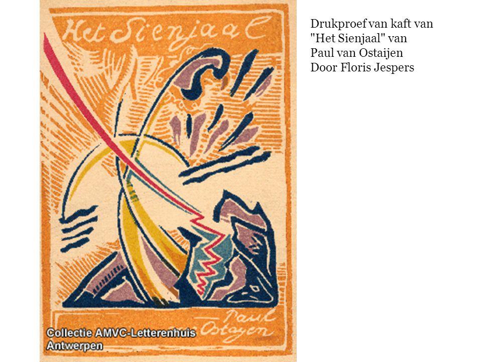 Drukproef van kaft van Het Sienjaal van Paul van Ostaijen Door Floris Jespers
