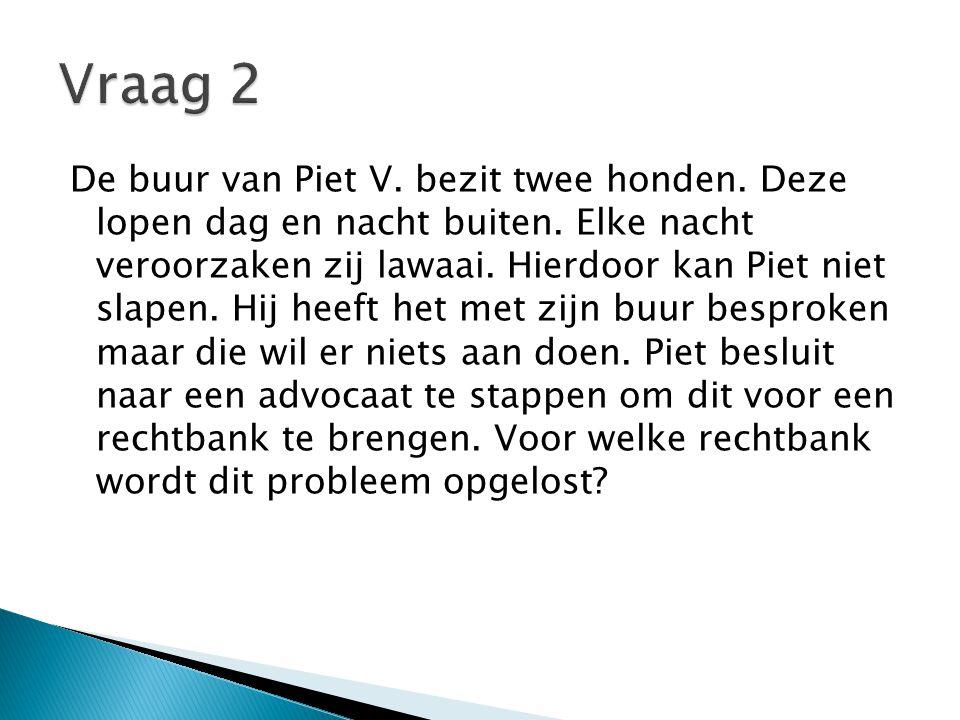 De buur van Piet V. bezit twee honden. Deze lopen dag en nacht buiten.