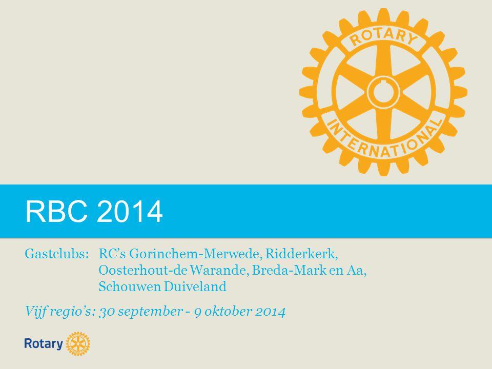 RBC 2014 Gastclubs: RC's Gorinchem-Merwede, Ridderkerk, Oosterhout-de Warande, Breda-Mark en Aa, Schouwen Duiveland Vijf regio's: 30 september - 9 oktober 2014