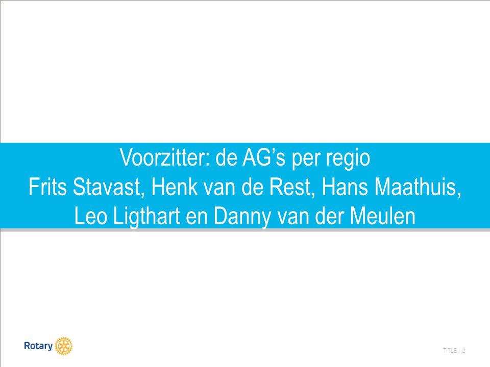 TITLE | 2 Voorzitter: de AG's per regio Frits Stavast, Henk van de Rest, Hans Maathuis, Leo Ligthart en Danny van der Meulen