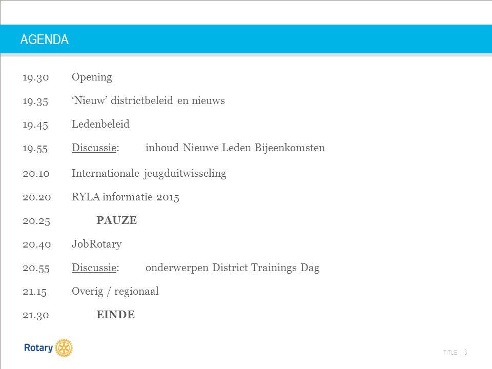 TITLE | 3 AGENDA 19.30 Opening 19.35 'Nieuw' districtbeleid en nieuws 19.45 Ledenbeleid 19.55 Discussie: inhoud Nieuwe Leden Bijeenkomsten 20.10 Inter