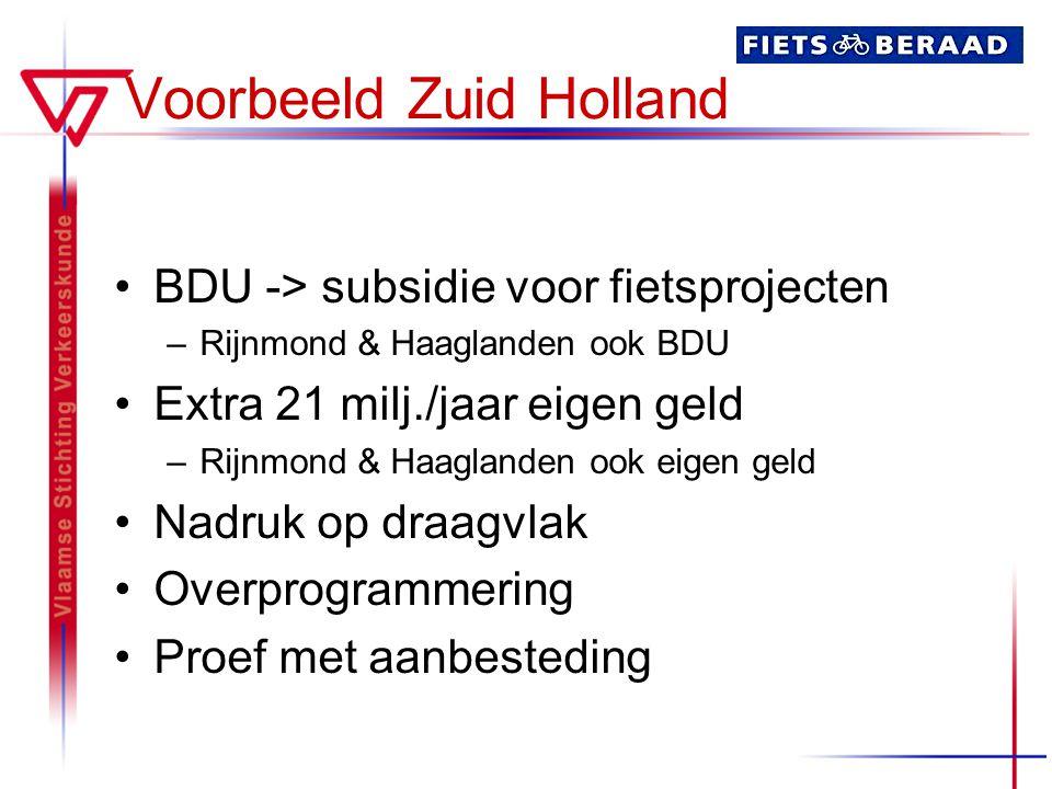 Voorbeeld Zuid Holland BDU -> subsidie voor fietsprojecten –Rijnmond & Haaglanden ook BDU Extra 21 milj./jaar eigen geld –Rijnmond & Haaglanden ook eigen geld Nadruk op draagvlak Overprogrammering Proef met aanbesteding
