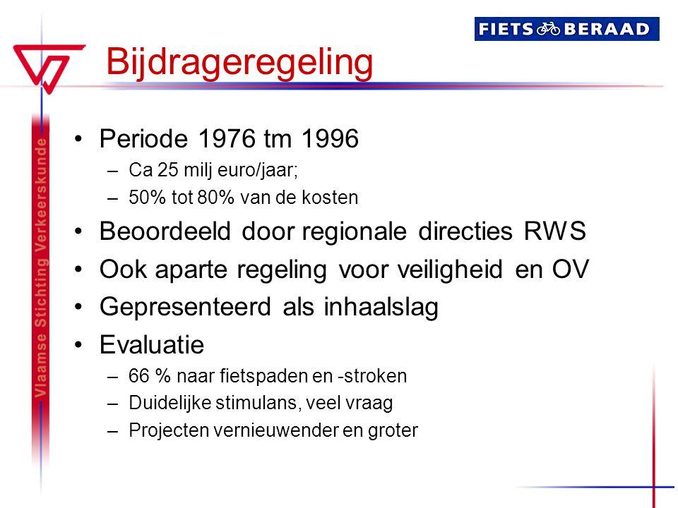 Bijdrageregeling Periode 1976 tm 1996 –Ca 25 milj euro/jaar; –50% tot 80% van de kosten Beoordeeld door regionale directies RWS Ook aparte regeling vo