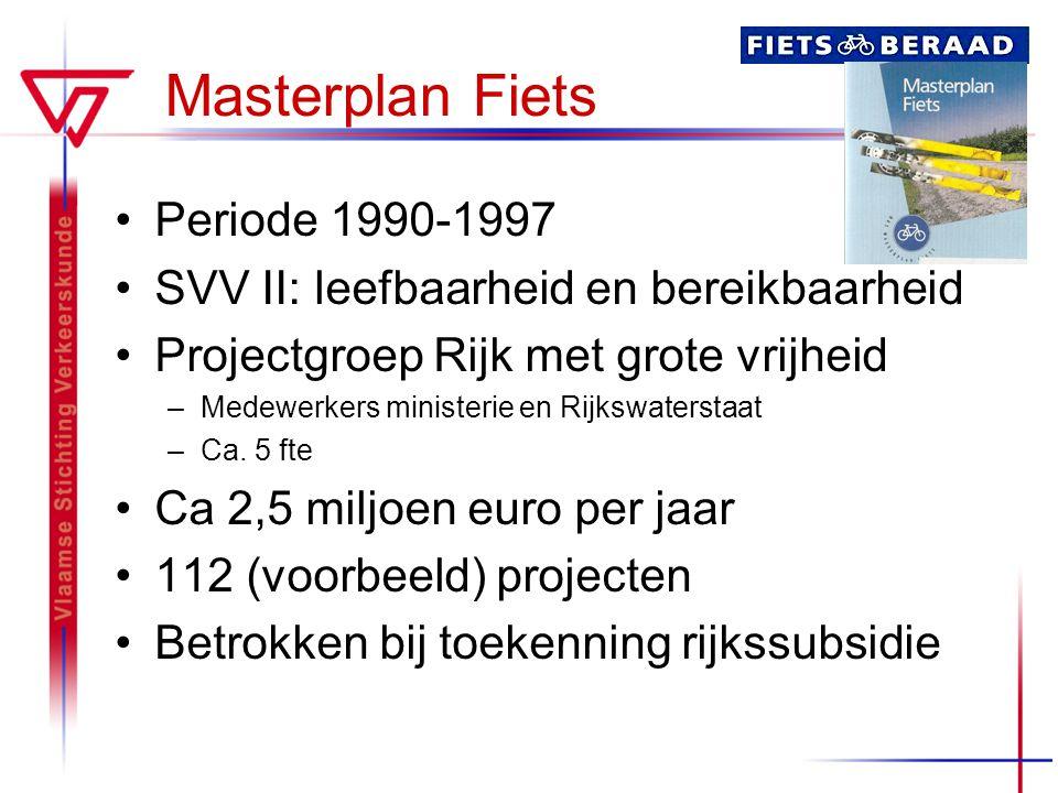 Masterplan Fiets Periode 1990-1997 SVV II: leefbaarheid en bereikbaarheid Projectgroep Rijk met grote vrijheid –Medewerkers ministerie en Rijkswaterst