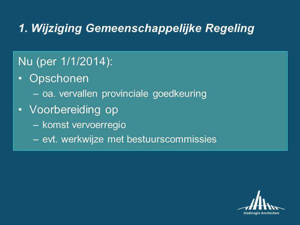 1. Wijziging Gemeenschappelijke Regeling Nu (per 1/1/2014): Opschonen –oa.