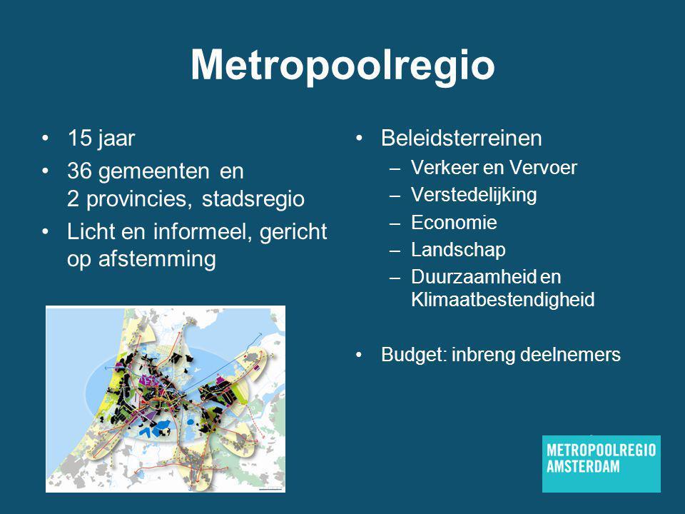 Metropoolregio 15 jaar 36 gemeenten en 2 provincies, stadsregio Licht en informeel, gericht op afstemming Beleidsterreinen –Verkeer en Vervoer –Verstedelijking –Economie –Landschap –Duurzaamheid en Klimaatbestendigheid Budget: inbreng deelnemers