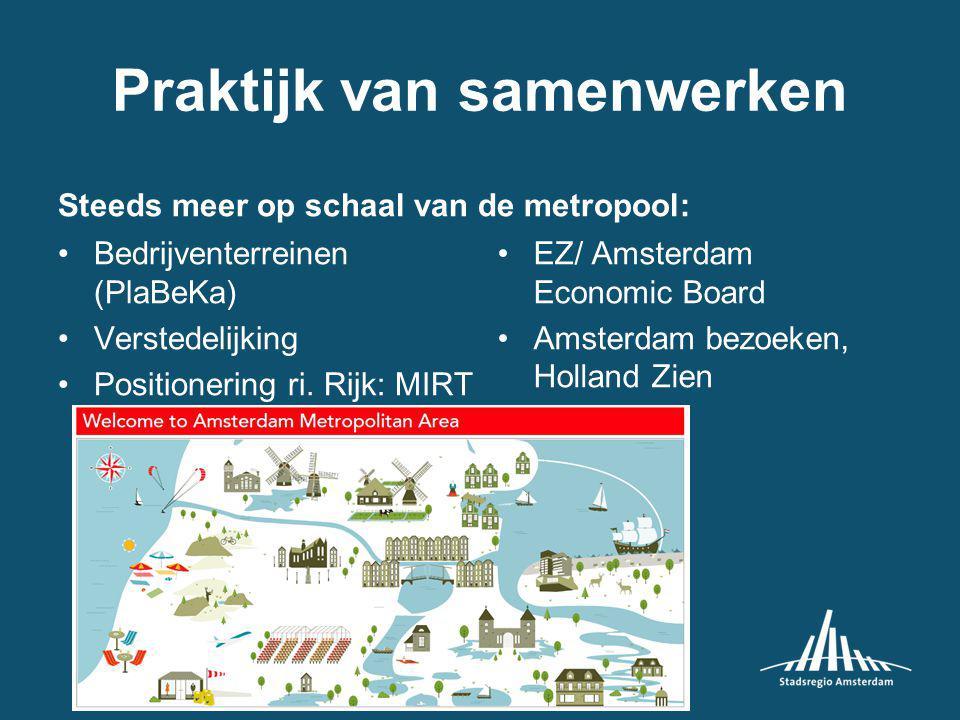 Praktijk van samenwerken Steeds meer op schaal van de metropool: Bedrijventerreinen (PlaBeKa) Verstedelijking Positionering ri.