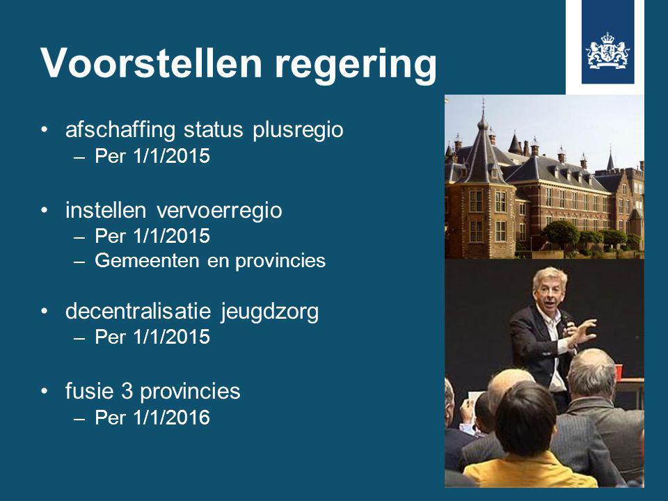 Voorstellen regering afschaffing status plusregio –Per 1/1/2015 instellen vervoerregio –Per 1/1/2015 –Gemeenten en provincies decentralisatie jeugdzorg –Per 1/1/2015 fusie 3 provincies –Per 1/1/2016