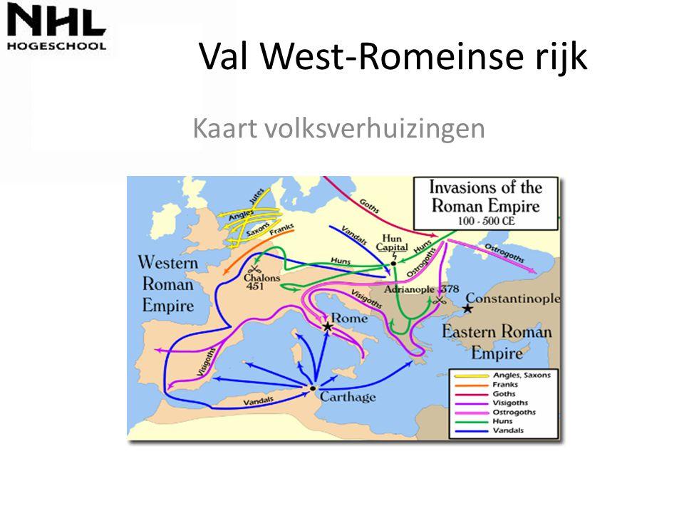 Val West-Romeinse rijk Kaart volksverhuizingen