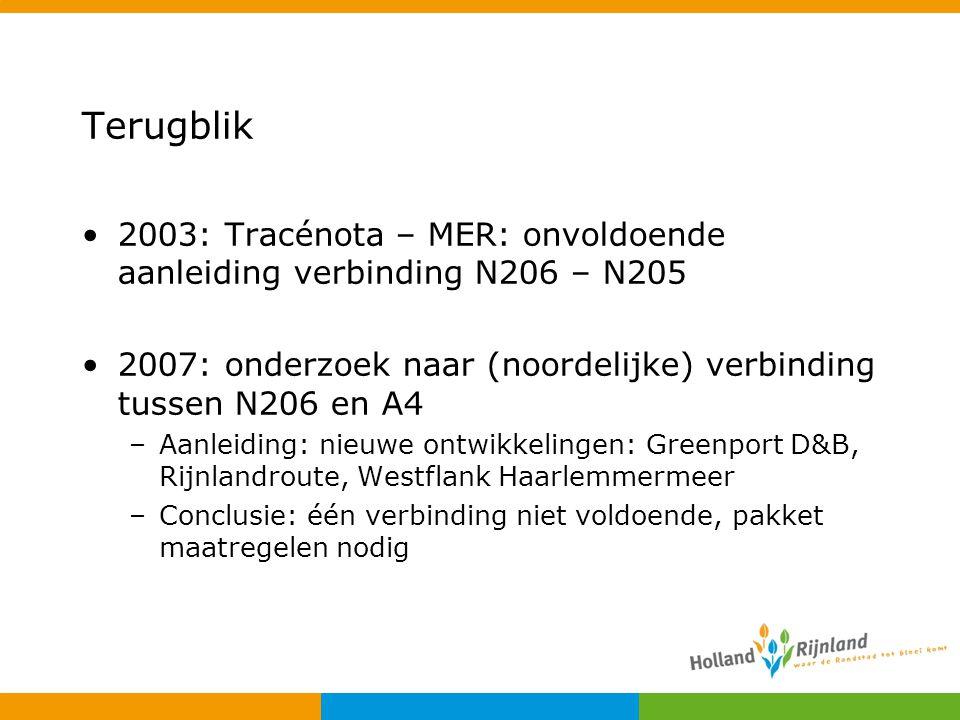 Terugblik 2003: Tracénota – MER: onvoldoende aanleiding verbinding N206 – N205 2007: onderzoek naar (noordelijke) verbinding tussen N206 en A4 –Aanlei