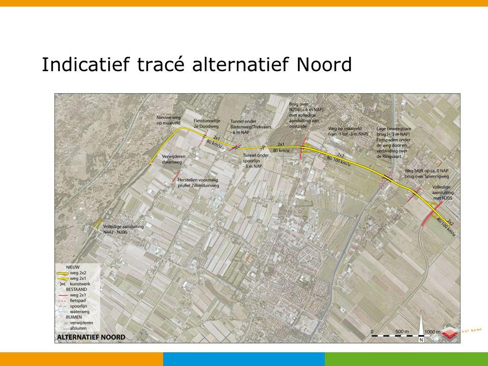 Indicatief tracé alternatief Noord