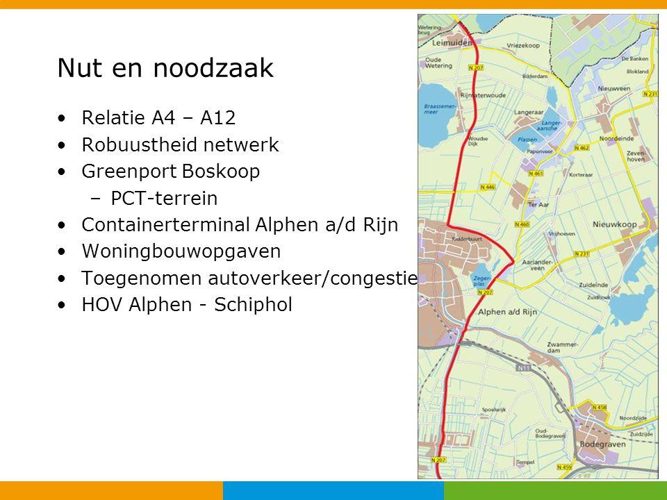 Nut en noodzaak Relatie A4 – A12 Robuustheid netwerk Greenport Boskoop –PCT-terrein Containerterminal Alphen a/d Rijn Woningbouwopgaven Toegenomen aut