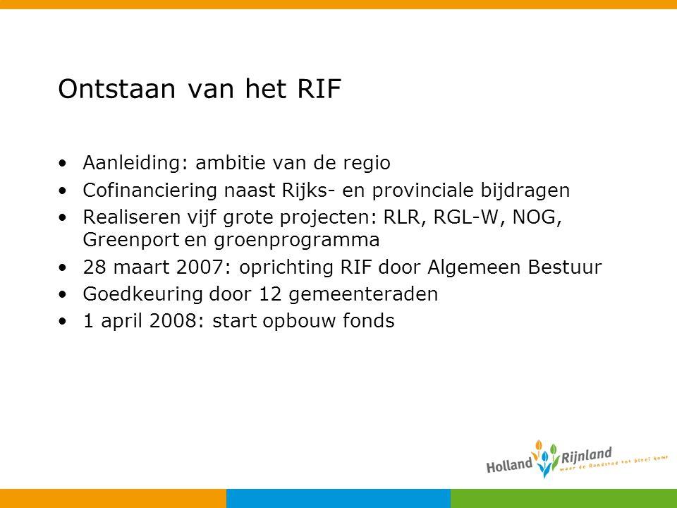 Ontstaan van het RIF Aanleiding: ambitie van de regio Cofinanciering naast Rijks- en provinciale bijdragen Realiseren vijf grote projecten: RLR, RGL-W