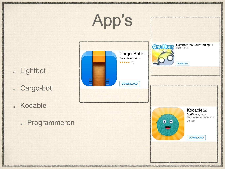 App s Lightbot Cargo-bot Kodable Programmeren