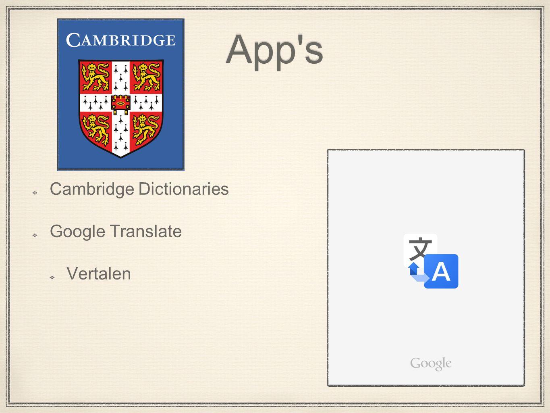App s Cambridge Dictionaries Google Translate Vertalen