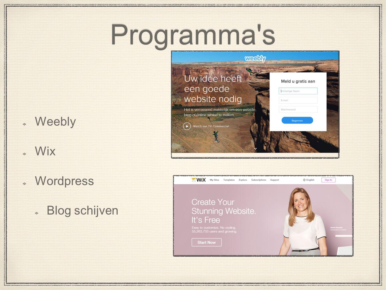 Programma s Weebly Wix Wordpress Blog schijven