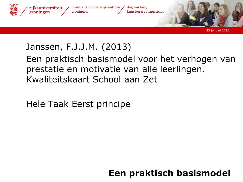 23 januari 2015 universitair onderwijscentrum groningen dag van taal, kunsten & cultuur 2015 Een praktisch basismodel Janssen, F.J.J.M. (2013) Een pra