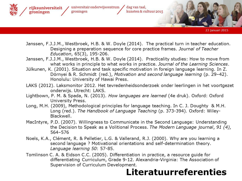 23 januari 2015 universitair onderwijscentrum groningen dag van taal, kunsten & cultuur 2015 Literatuurreferenties Janssen, F.J.J.M., Westbroek, H.B.