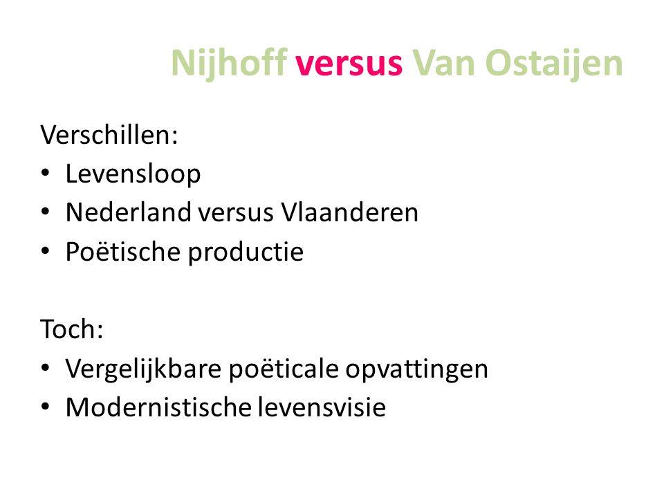 Nijhoff versus Van Ostaijen Verschillen: Levensloop Nederland versus Vlaanderen Poëtische productie Toch: Vergelijkbare poëticale opvattingen Modernistische levensvisie