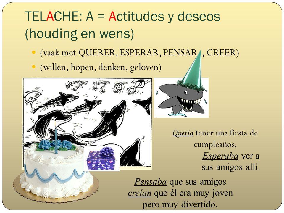 TELACHE: A = Actitudes y deseos (houding en wens) (vaak met QUERER, ESPERAR, PENSAR,, CREER) (willen, hopen, denken, geloven) Quería tener una fiesta de cumpleaños.