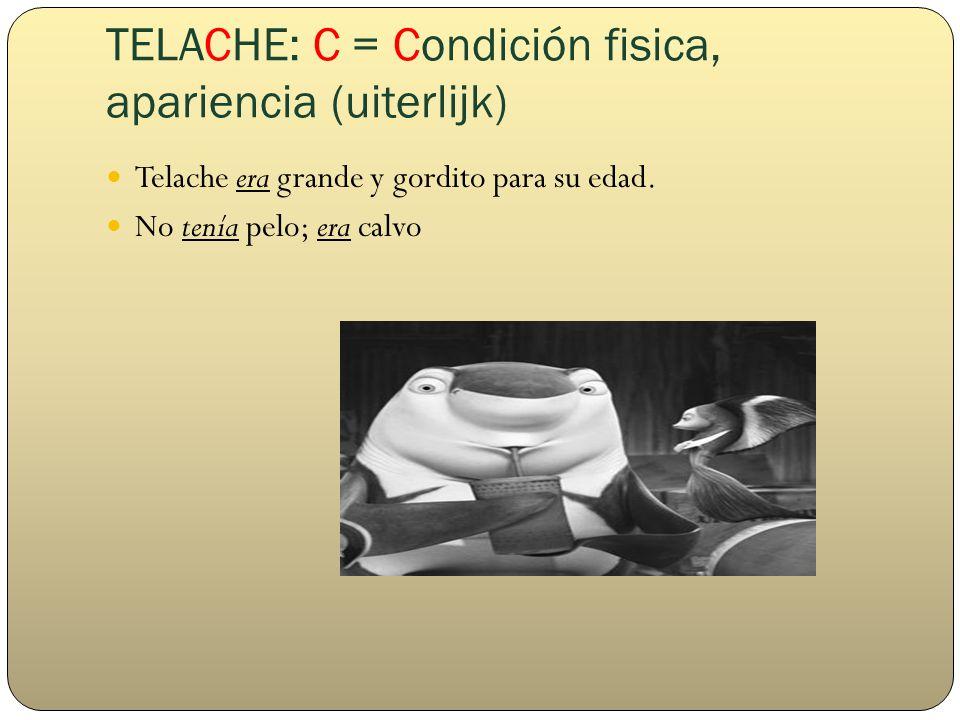 TELACHE: C = Condición fisica, apariencia (uiterlijk) Telache era grande y gordito para su edad.