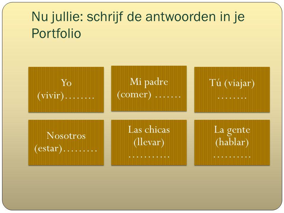 Nu jullie: schrijf de antwoorden in je Portfolio Yo (vivir)……..