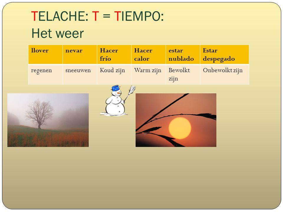 TELACHE: T = TIEMPO: Het weer llovernevarHacer frío Hacer calor estar nublado Estar despegado regenensneeuwenKoud zijnWarm zijnBewolkt zijn Onbewolkt zijn