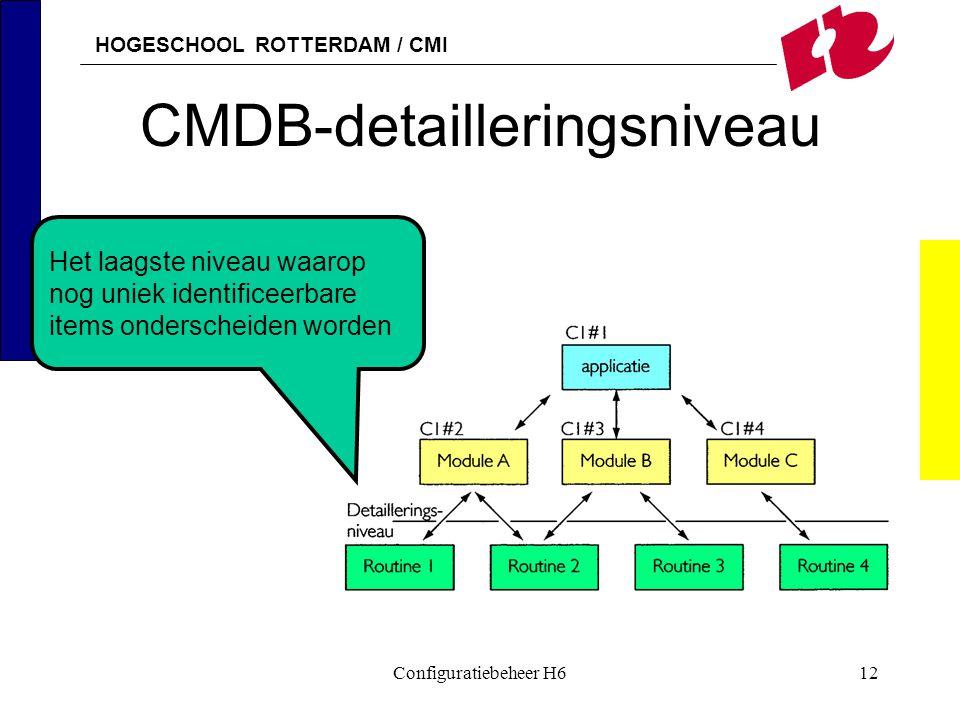 HOGESCHOOL ROTTERDAM / CMI Configuratiebeheer H612 CMDB-detailleringsniveau Het laagste niveau waarop nog uniek identificeerbare items onderscheiden w