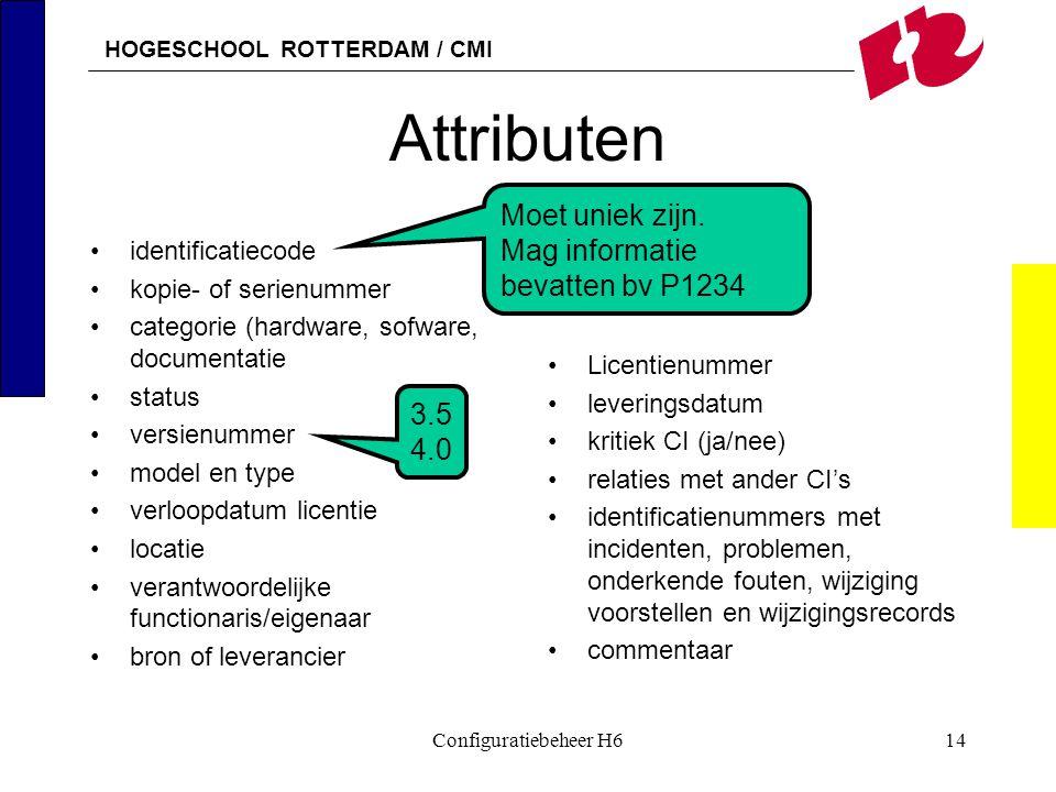 HOGESCHOOL ROTTERDAM / CMI Configuratiebeheer H614 Attributen identificatiecode kopie- of serienummer categorie (hardware, sofware, documentatie statu