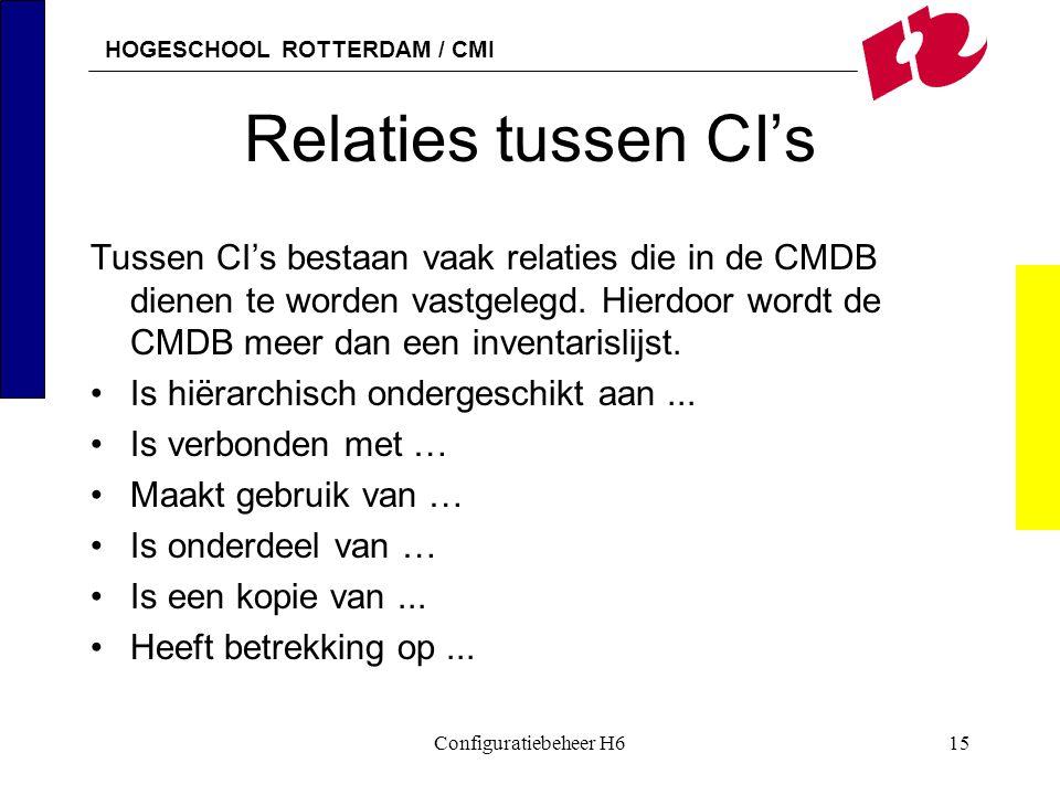 HOGESCHOOL ROTTERDAM / CMI Configuratiebeheer H615 Relaties tussen CI's Tussen CI's bestaan vaak relaties die in de CMDB dienen te worden vastgelegd.