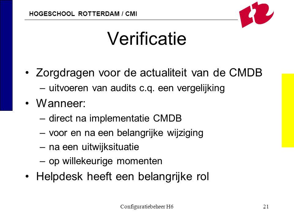HOGESCHOOL ROTTERDAM / CMI Configuratiebeheer H621 Verificatie Zorgdragen voor de actualiteit van de CMDB –uitvoeren van audits c.q. een vergelijking