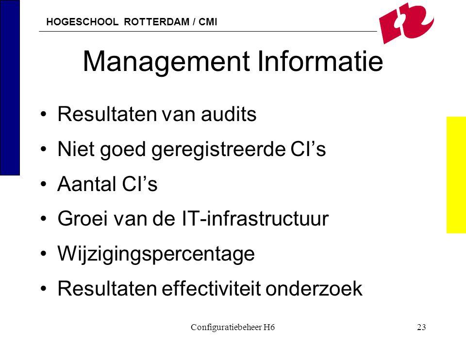 HOGESCHOOL ROTTERDAM / CMI Configuratiebeheer H623 Management Informatie Resultaten van audits Niet goed geregistreerde CI's Aantal CI's Groei van de