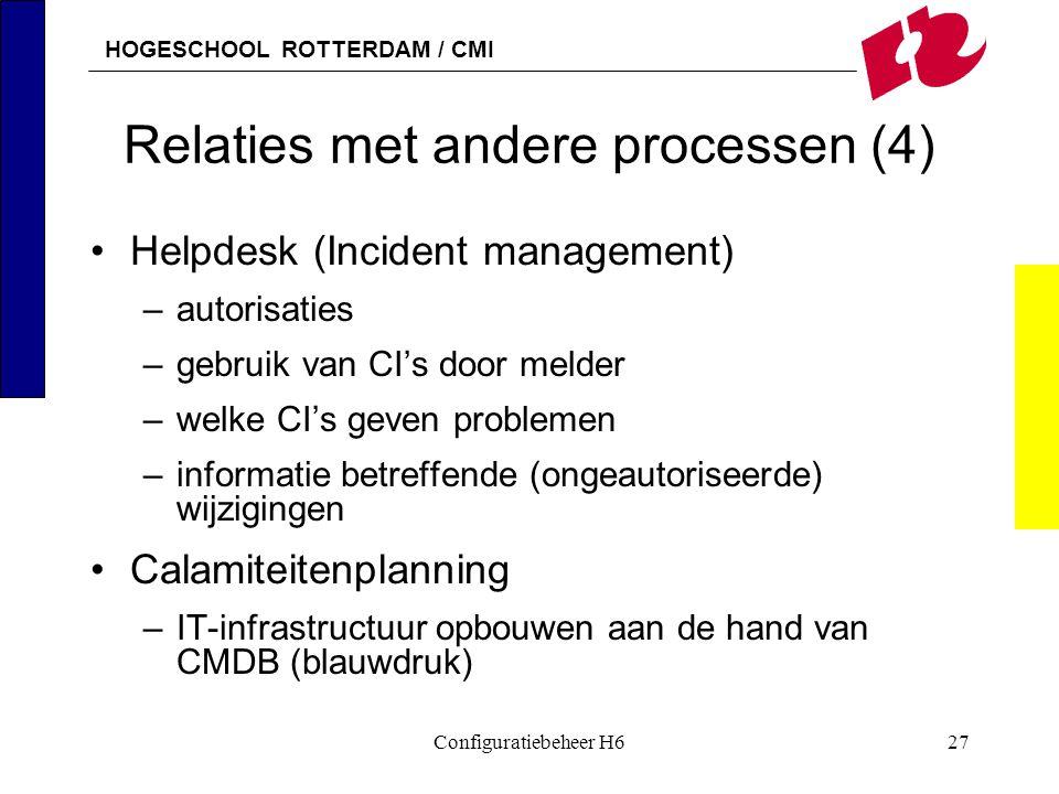 HOGESCHOOL ROTTERDAM / CMI Configuratiebeheer H627 Relaties met andere processen (4) Helpdesk (Incident management) –autorisaties –gebruik van CI's do